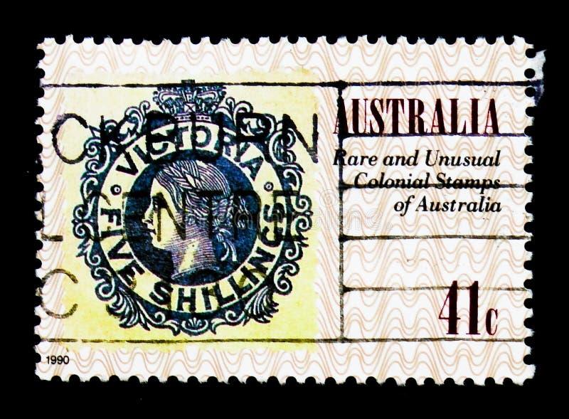 Victoria 1867, Penny Black 150th serie, circa 1990 stock photos
