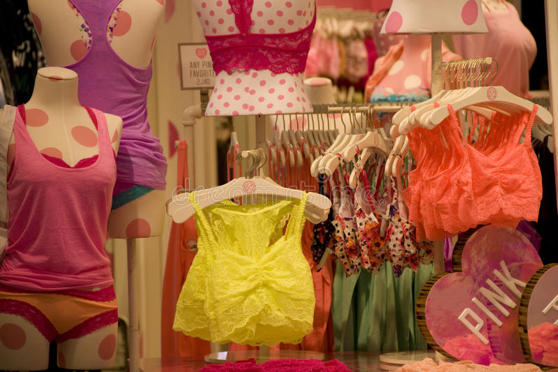 Victoria Pink under ware store royalty free stock images