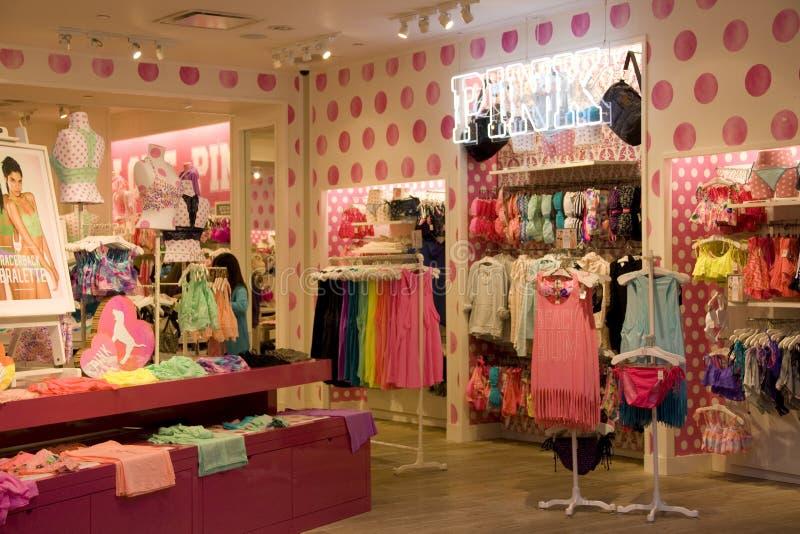 Victoria Pink under ware store stock image