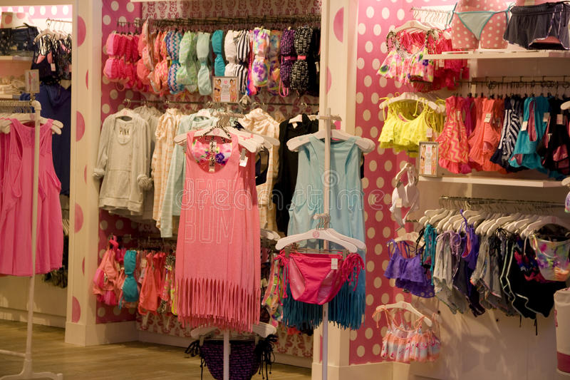 Victoria Pink under ware store royalty free stock photos