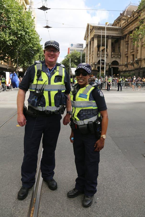 Victoria Police Constable fornece a seguran?a durante a parada 2019 do dia de Austr?lia em Melbourne foto de stock