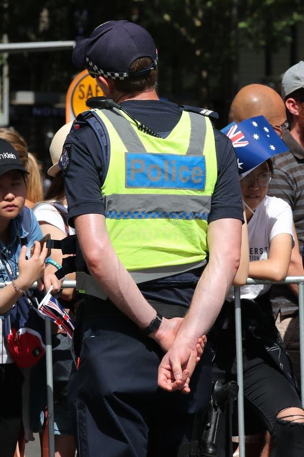 Victoria Police Constable fornece a seguran?a durante a parada 2019 do dia de Austr?lia em Melbourne imagem de stock
