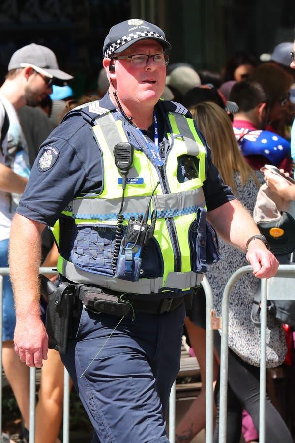 Victoria Police Constable fornece a seguran?a durante a parada 2019 do dia de Austr?lia em Melbourne imagem de stock royalty free
