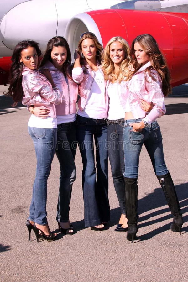 Victoria's Secret models. Arriving at the Los Angeles International Airport from New York City. LAX, Los Angeles, CA. 11-12-07 royalty free stock image