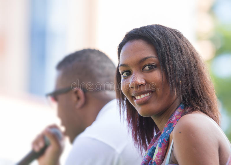VICTORIA, SEYCHELLES – April 26, 2014: Creole young lady at t royalty free stock photography