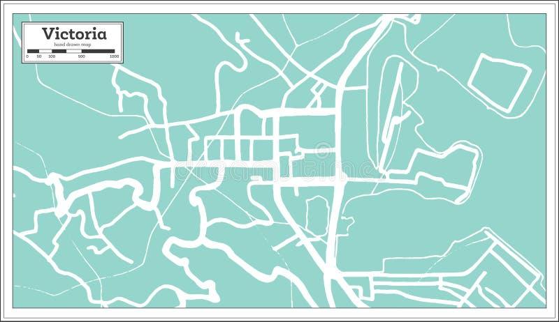 Victoria Seychelles City Map i Retro stil skisserar kartlägger royaltyfri illustrationer