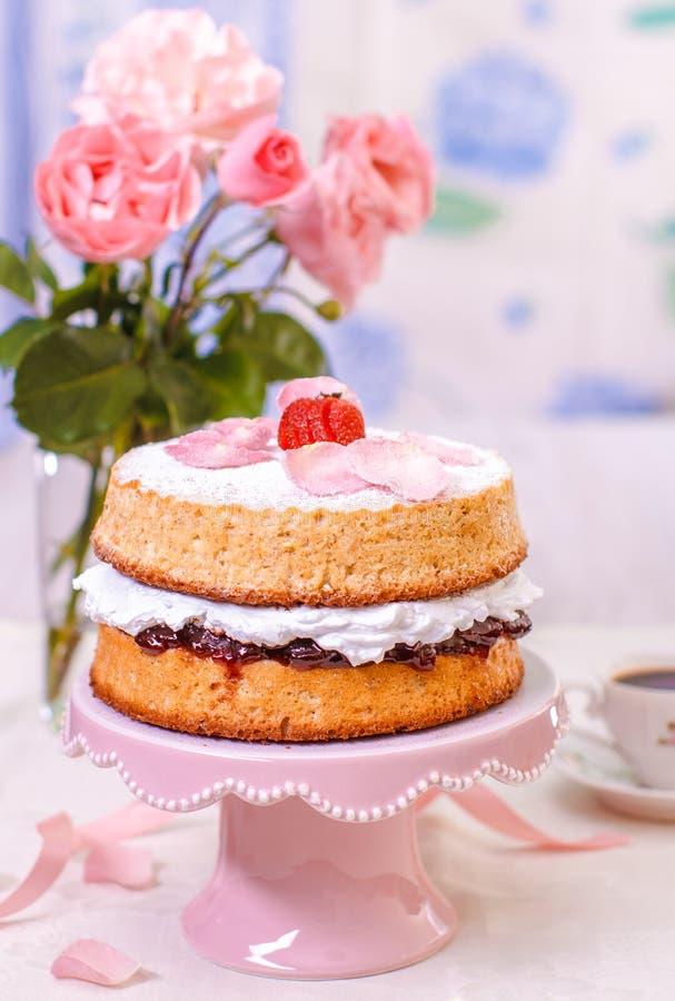 Victoria Sponge Cake royalty-vrije stock foto's