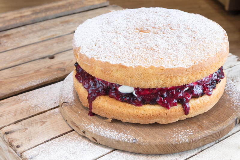 Victoria Sponge Cake with fruit jam filling stock photo