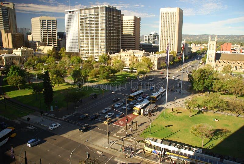 Victoria Square, Adelaide, South Australia. Morning traffic at Victoria Square, Adelaide, South Australia royalty free stock photos
