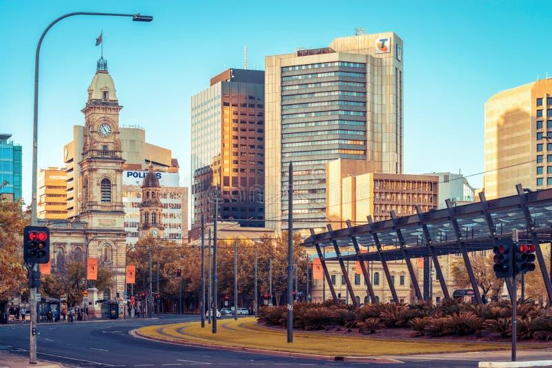 Victoria Square Adelaide stadsmitt royaltyfria bilder