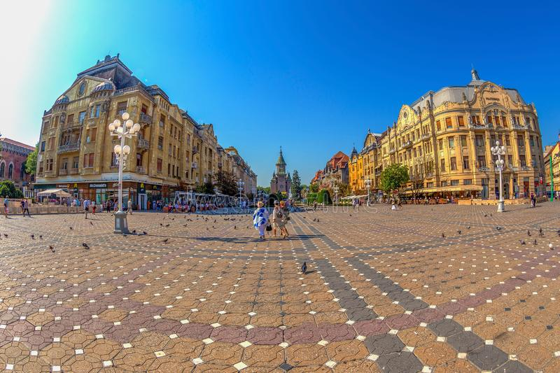 Victoria Square from Timisoara, Romania. TIMISOARA, ROMANIA - AUGUST 16, 2017: Victoria Square from Timisoara, Romania. Fish-eye view royalty free stock photo
