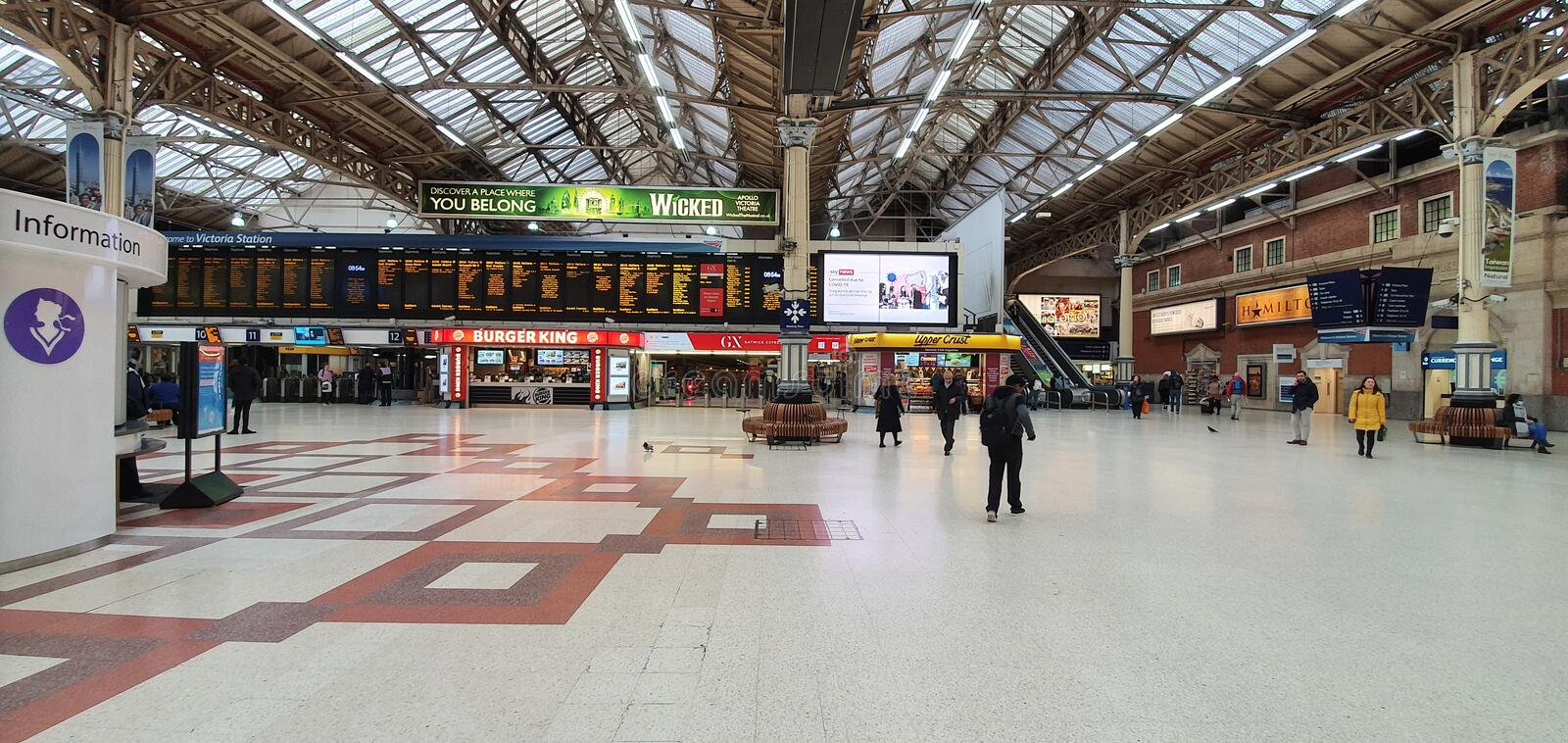 London Victoria station quiet during coronavirus royalty free stock images