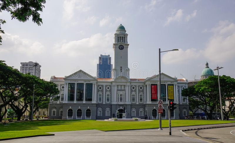 Victoria Theatre and Concert Hall in Singapore. Singapore - Feb 9, 2018. View of Victoria Theatre and Concert Hall in Singapore. The building is one of Singapore stock photos