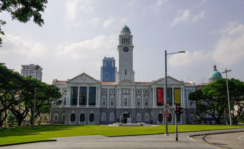 Victoria Theatre and Concert Hall in Singapore. Singapore - Feb 9, 2018. View of Victoria Theatre and Concert Hall in Singapore. The building is one of Singapore royalty free stock photos