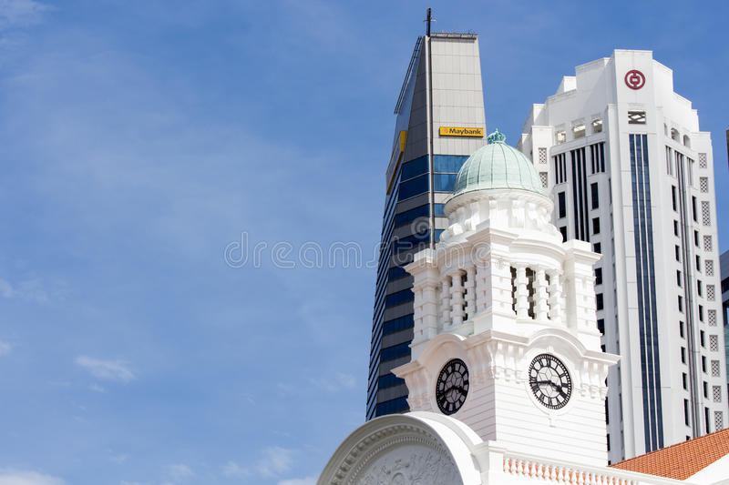 Victoria Theatre et concert Hall Tower Clock à Singapour photographie stock