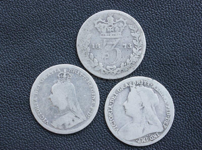 Victoria, threepence, plata, monedas. fotografía de archivo