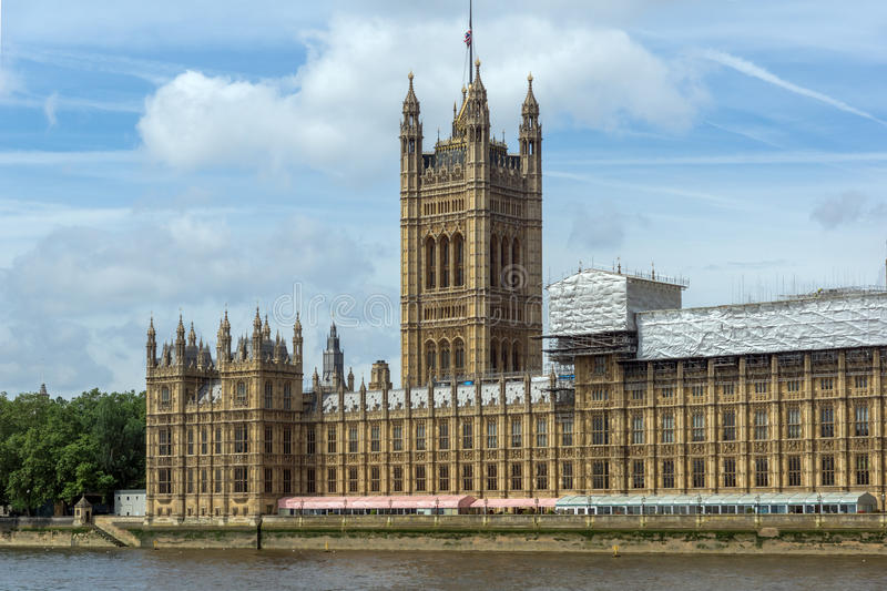 Victoria Tower in Houses of Parliament, Palace of Westminster, London, England royalty free stock photography