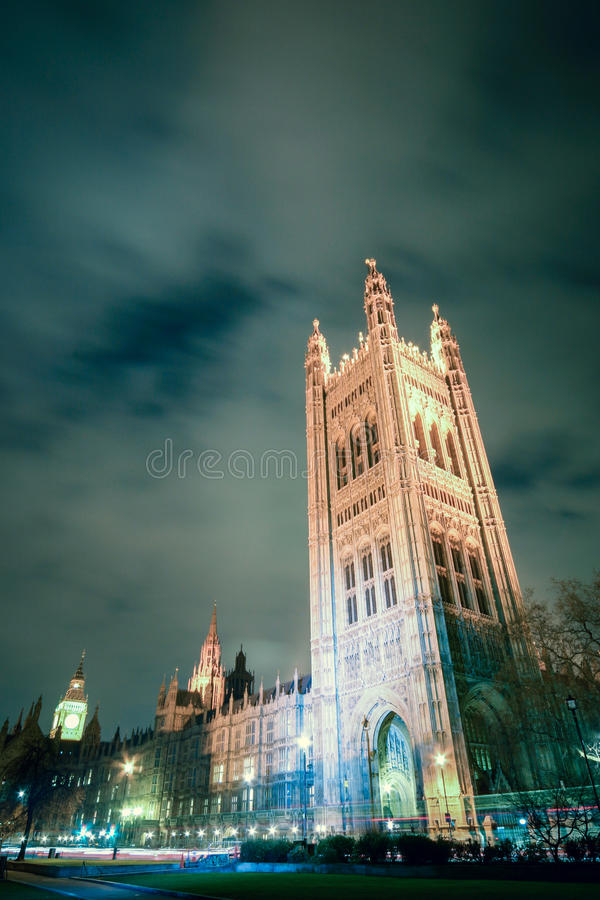 Victoria Tower, Palace of Westminster, London. A wide and low angle, long exposure view of the Victoria Tower, the highest point of the Palace of Westminster stock photos