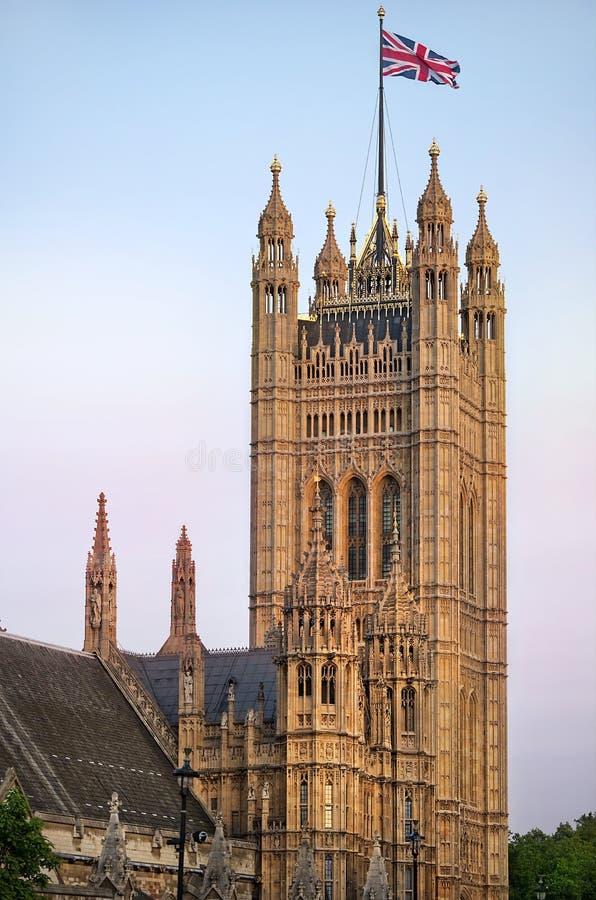 Victoria Tower slott av Westminster, London royaltyfria foton