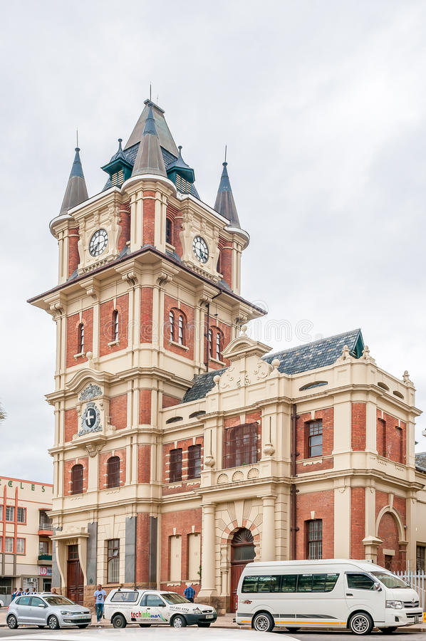 Victoria Tower in Uitenhage. UITENHAGE, SOUTH AFRICA - MARCH 7, 2016: The Victoria Tower was built during 1896-1898 and used as government offices. Uitenhage is stock image