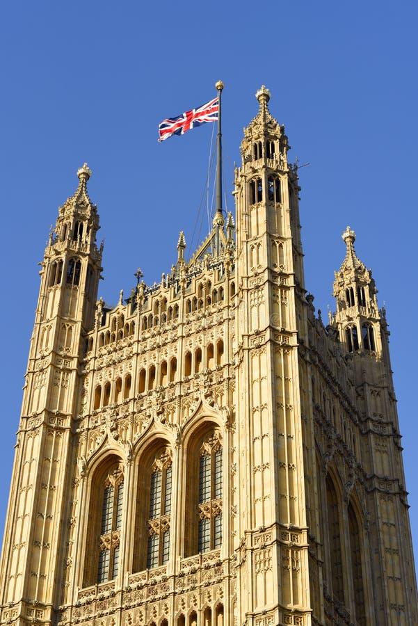 Victoria Tower, vierkante toren op het zuidwesteneind van het Paleis van Westminster in Londen stock afbeelding