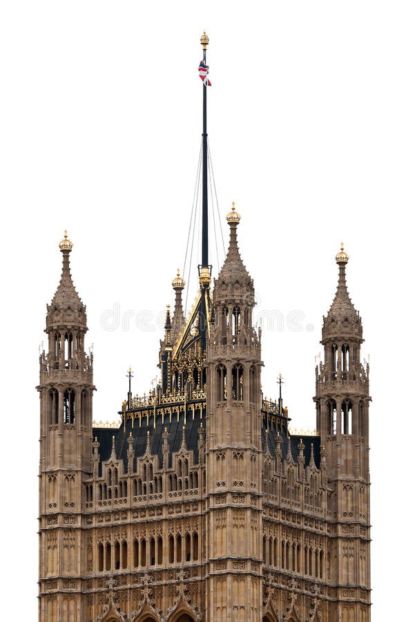 Download Victoria Tower Of Westminster Palace Isolated On White Background, London - UK Stock Image - Image of golden, black: 17351985