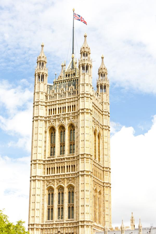 Victoria Tower, Westminster Palace, London, Great Britain. Outdoors, outside, exteriors, europe, western, united, kingdom, uk, england, houses, parliament stock photography