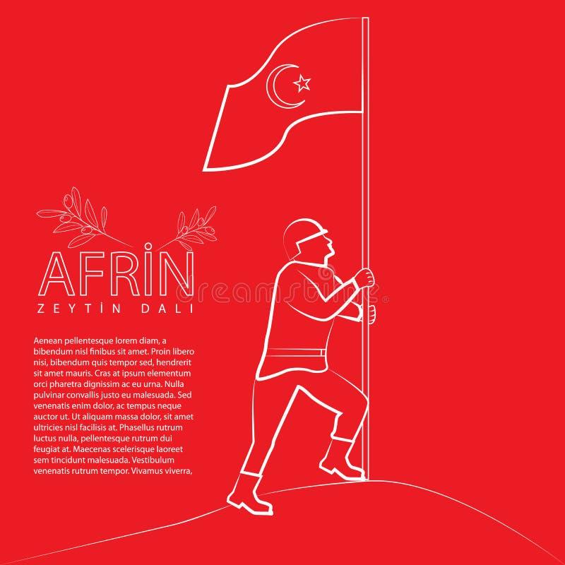 Victoria turca en Afrin La traducción meaining es Afrin - rama de olivo nombrada operación stock de ilustración