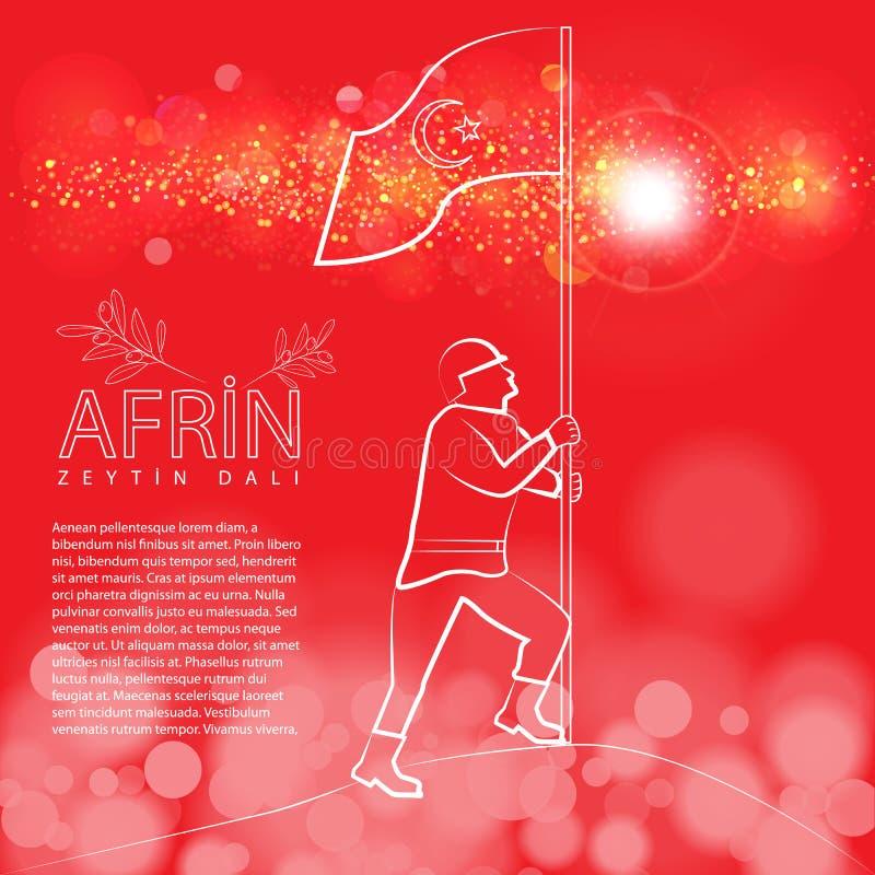 Victoria turca en Afrin La traducción meaining es Afrin - rama de olivo nombrada operación libre illustration