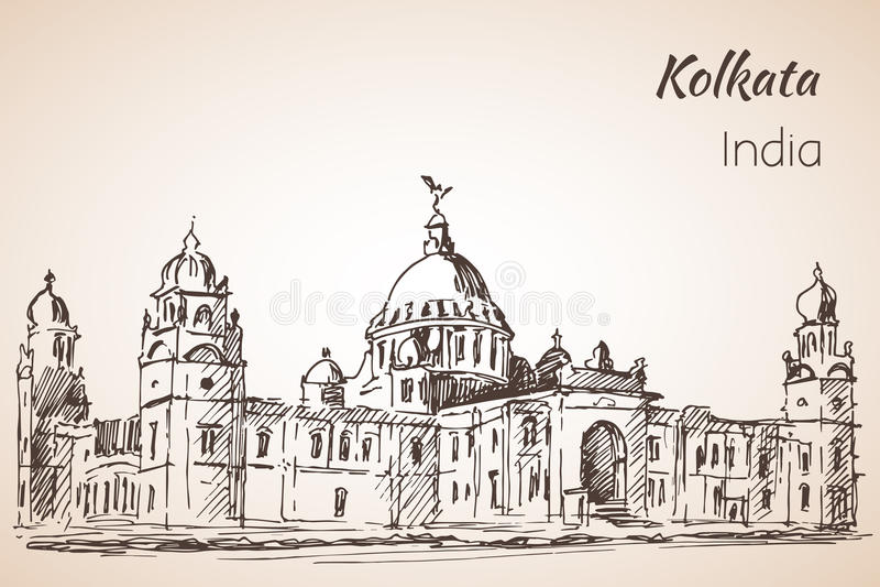 Victoria-zaal - Schets van Indische stad Kolkata vector illustratie