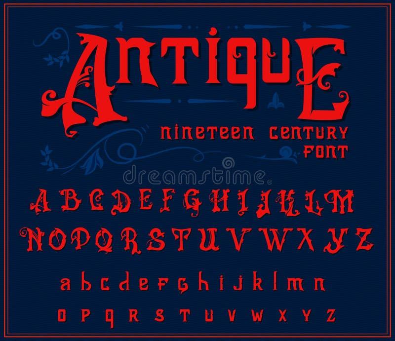 Victoriaans alfabet in oude stijl Antieke oude Doopvont voor Whiskyetiket Uitstekende lettersoort in rode editable kleuren, en stock illustratie