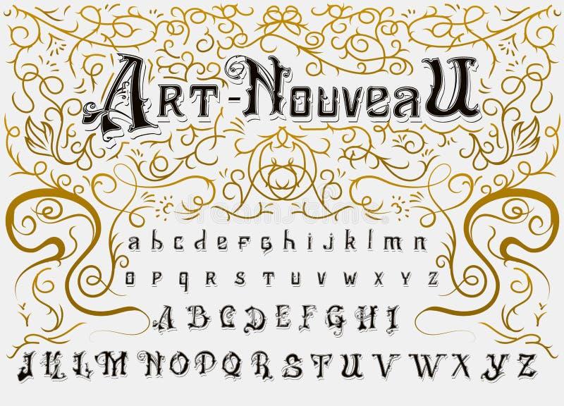 Victoriaans alfabet in oude stijl Antieke oude Doopvont voor Whiskyetiket Uitstekende lettersoort in zwarte editable kleuren, en vector illustratie