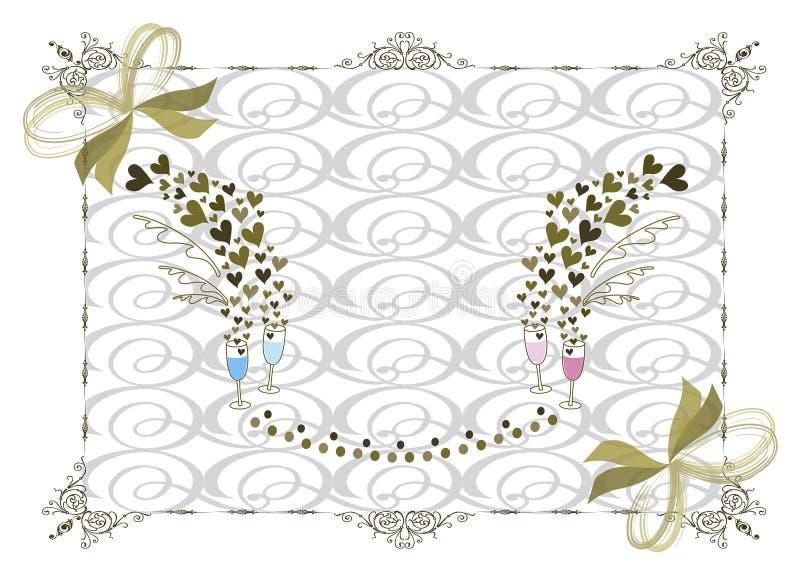Victoriaans gouden huwelijksframe stock illustratie