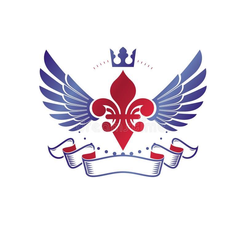 Victoriaans samengesteld embleem gebruikend leliebloem en monarchkroon r royalty-vrije illustratie
