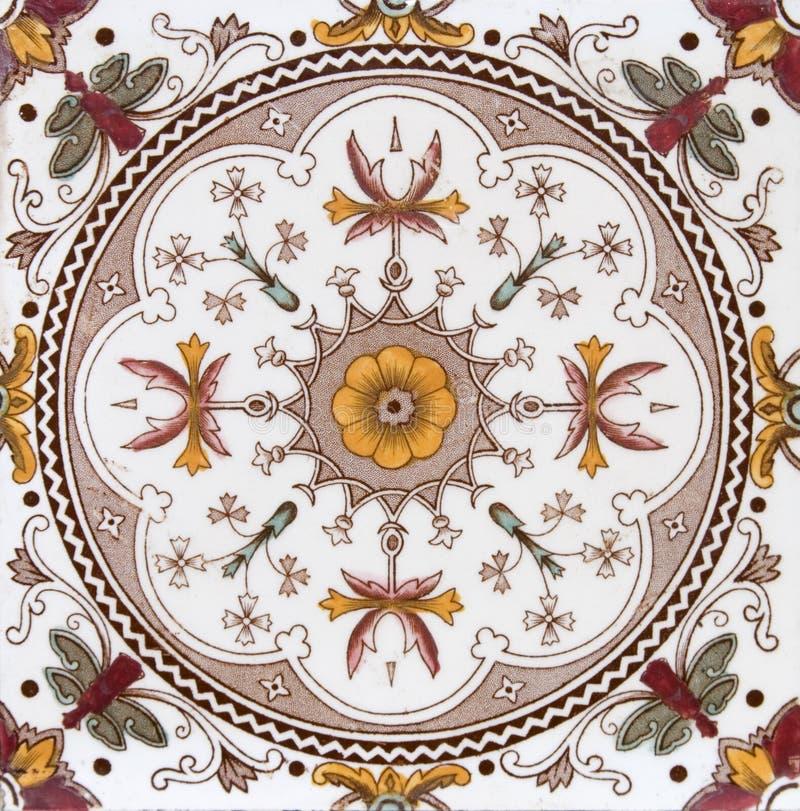 Victoriaanse antieke decoratieve tegel stock afbeeldingen
