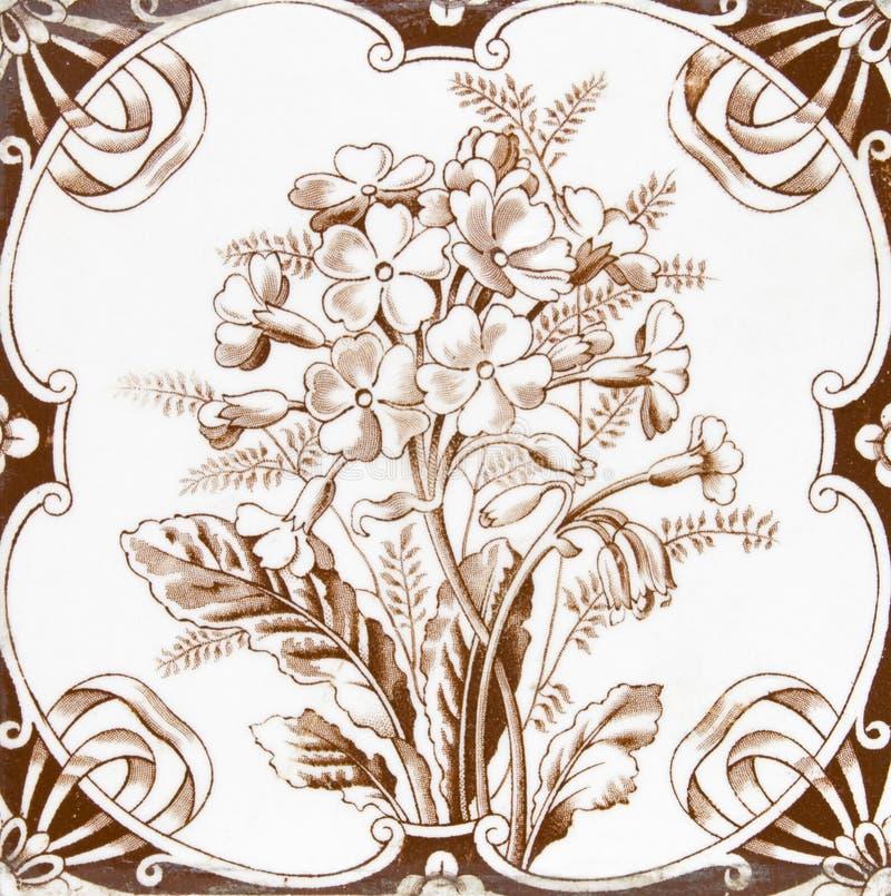 Victoriaanse antieke tegel stock afbeelding