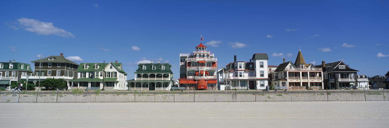 Victoriaanse Huizen op Kaap Mei, strand NJ stock foto's