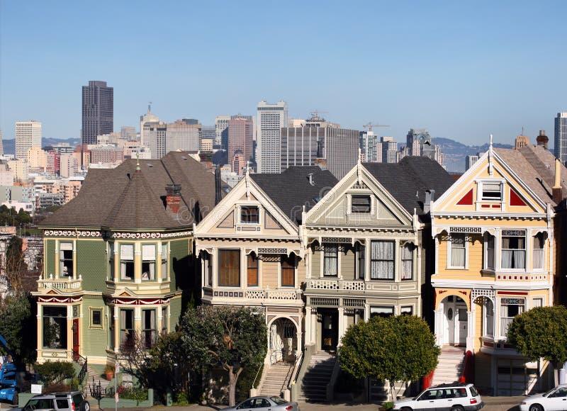 Victoriaanse huizen in San Francisco royalty-vrije stock foto's