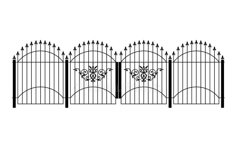 Victoriaanse omheining en poort royalty-vrije illustratie
