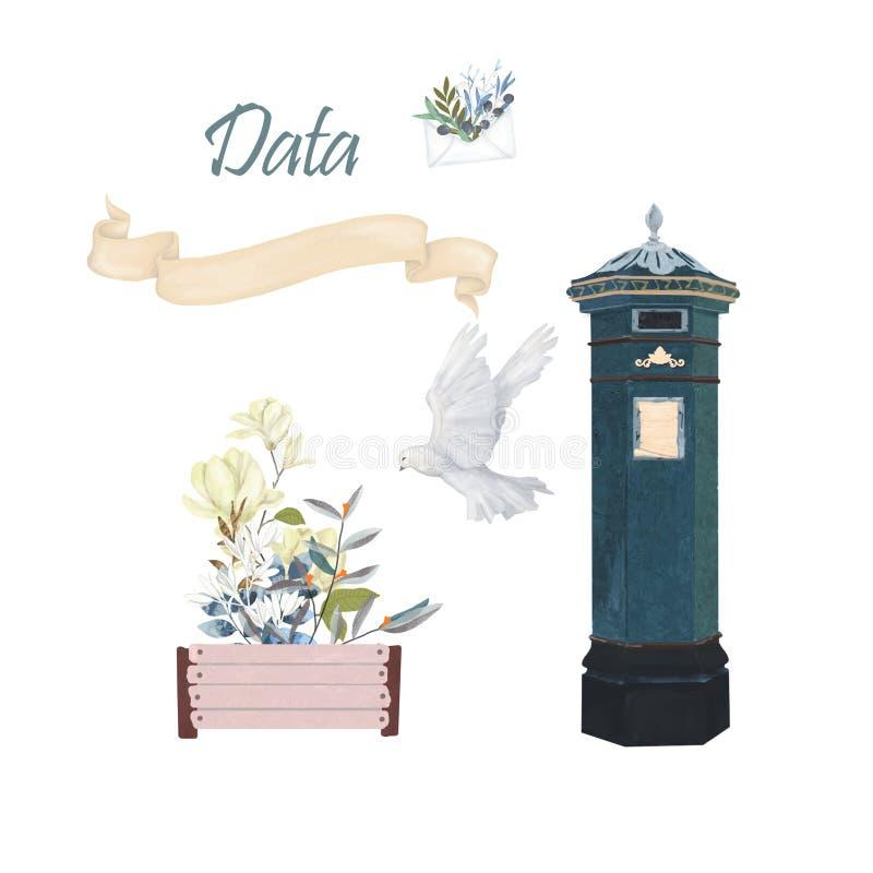 Victoriaanse Pijlerdoos, Britse post Post en duifvrede en liefde stock illustratie