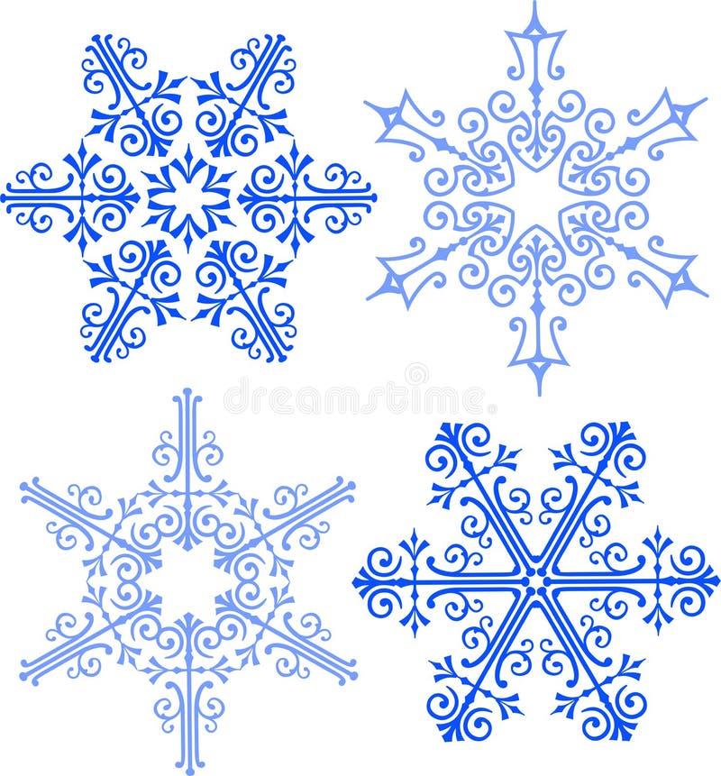 victorian élégant de flocons de neige d'AI illustration de vecteur