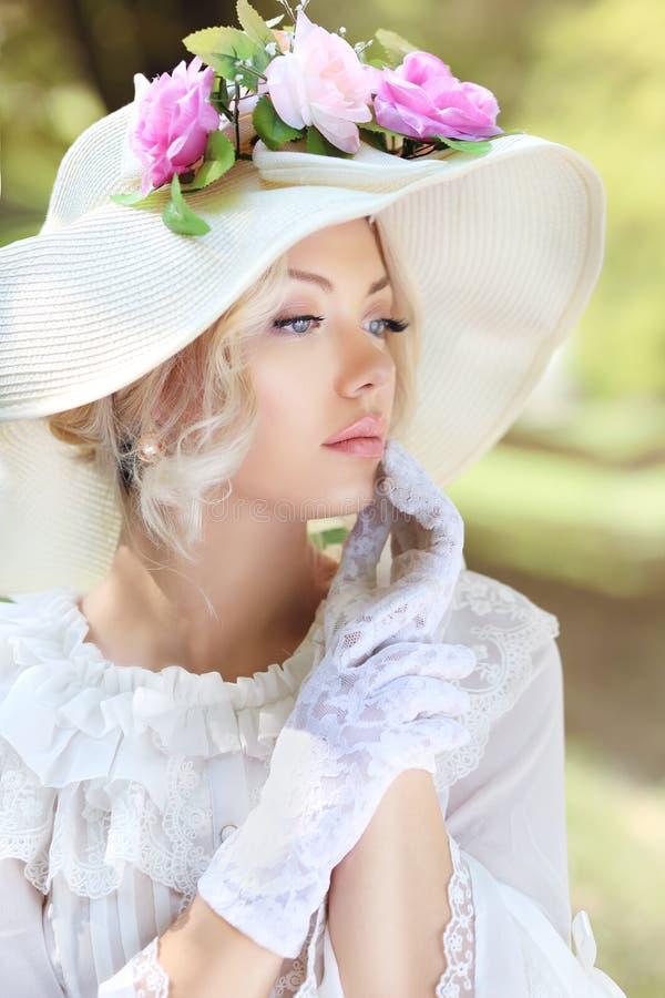 Victorian age fashion. Beautiful victorian age fashion woman portrait royalty free stock image