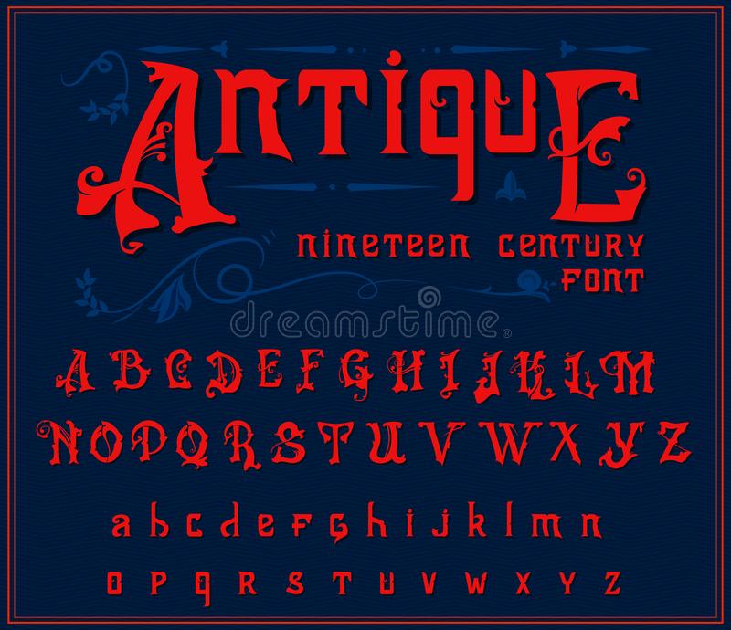 Victorian alphabet in ancient style. Antique old Font for Whiskey label. Vintage typeface in red colors, editable and. Layered. Hand drawn Vector modern letters stock illustration