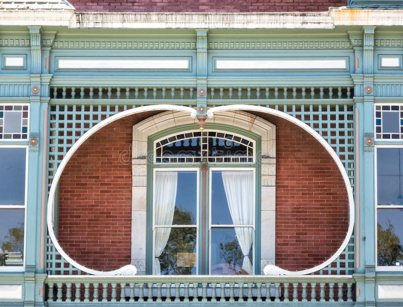 Victorian architectural details. Architectural details, unusual window and balcony lines royalty free stock photo