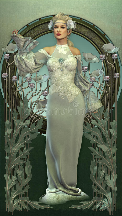 Download Victorian Beauty in White stock illustration. Image of blond - 29544955