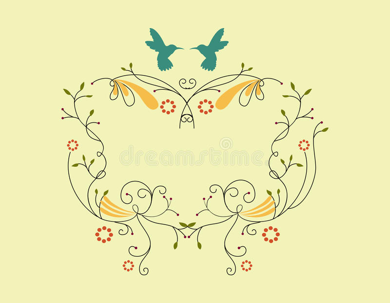 Victorian border with little bird stock photography