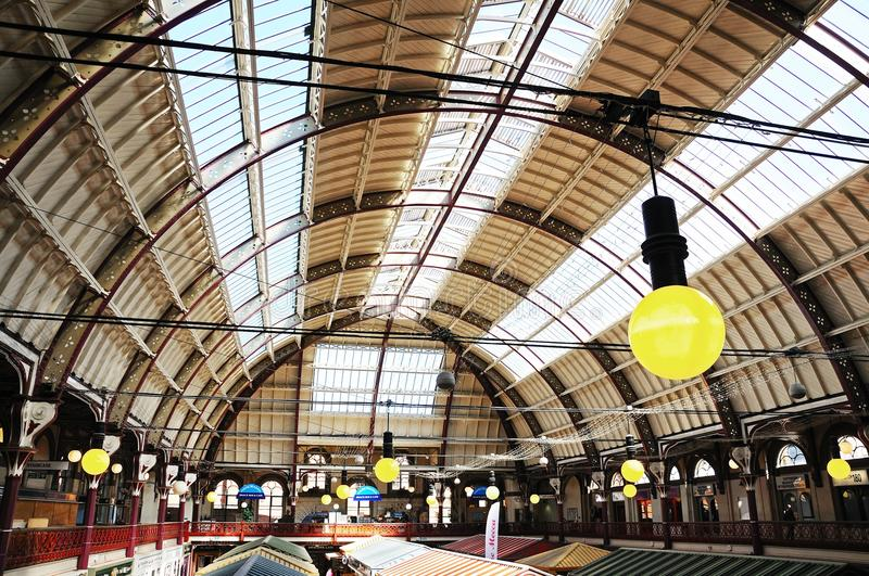 Victorian ceiling in Derby Market Hall. stock images