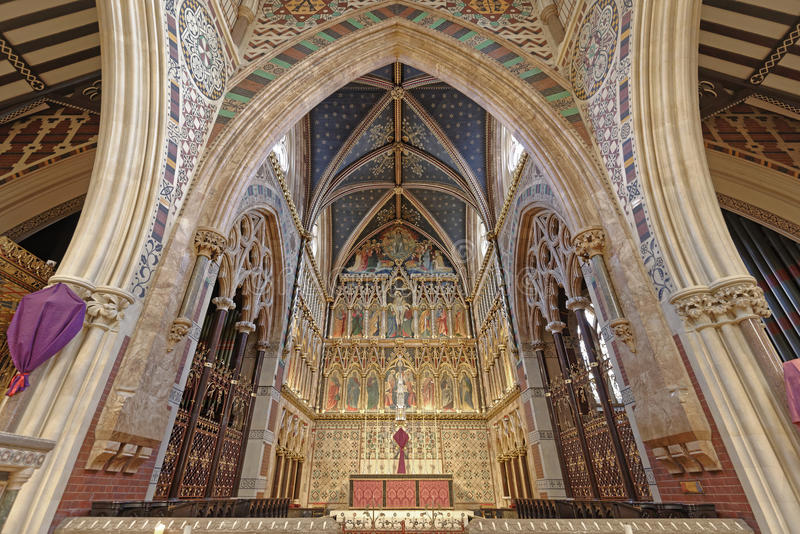 London, england: all saints Victorian church. gothic architecture. Image taken of the interior of the Church of all saints in Margaret street, london, england royalty free stock photos