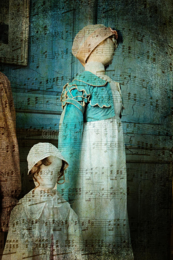 Victorian clothing on mannequins. And musical notes. Artistic vintage background style royalty free stock photography