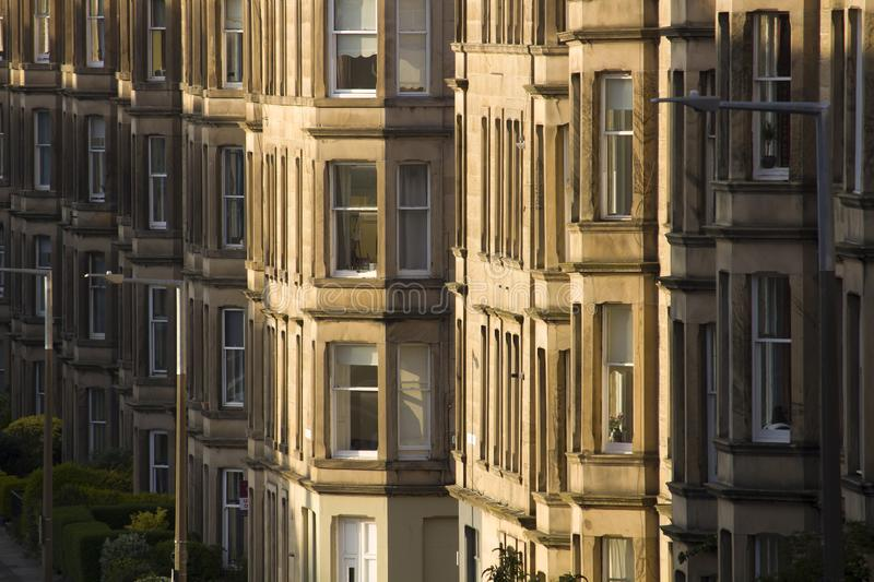 Victorian colony homes made of sandstone in Edinburgh, Scotland. Picture at Comely Bank Ave. Comely Bank is an area of Edinburgh, the capital of Scotland. It royalty free stock photography